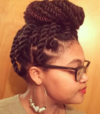 Marley Twists in Bun - - 3 strands of hair in each twist